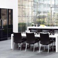 Living & Dining - Dining Desk - Natural Stone & Black high gloss - full