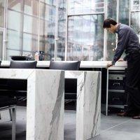 Living _ Dining - Dining Desk - Natural Stone _ Bl