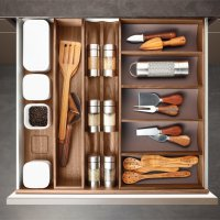 Poggenpohl Accessories - Drawer with spice jar bank, spice shaker bank and curved inserts - nut tree